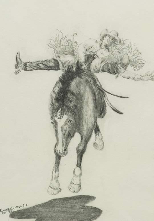 """Rodeo Rider"" By Cecil Mashburn, 73 Lawrence, Kansas"