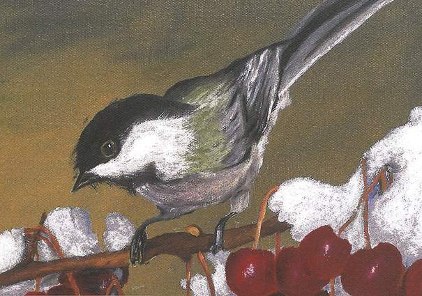 """""""Chickadee in Crabapples"""" by Perry Hunsley"""