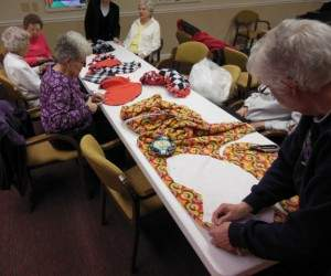 A group of ladies gathers every Thursday afternoon in the chapel and creates a number of items.