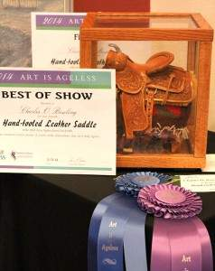 "Best of Show Winner: Charles O. Bowling, ""Hand-tooled Leather Saddle."""