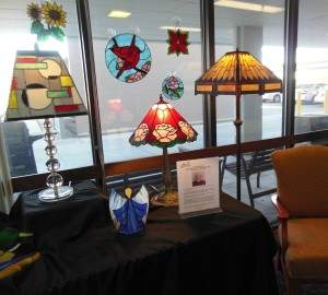 Don Smischy made these suncatchers and other stained glass items. Although these lamps are a work of art, they are fully functional.