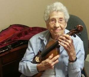 Topeka resident Dorothy Risebig with her violin.
