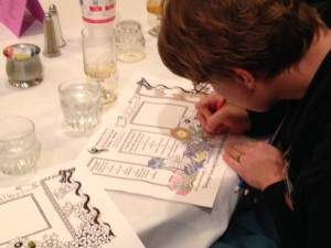 Newton Presbyterian Manor and Wichita Presbyterian Manor sponsored the luncheon at the annual Alzheimer's Conference in Wichita. The placemats at lunch, provided by the Newton and Wichita Presbyterian Manor campuses, featured a Zentangle design, an art form that appeals to those living with Alzheimer's and other forms of dementia. Attendees were encouraged to try their hand at drawing their own Zentangle.