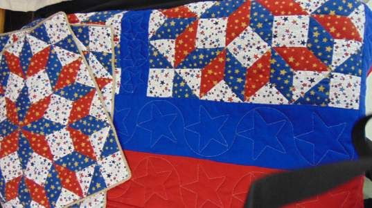 """Red, White and Blue,"" quilt by Ruby McBee won People's Choice at the Art is Ageless 2017 competition."