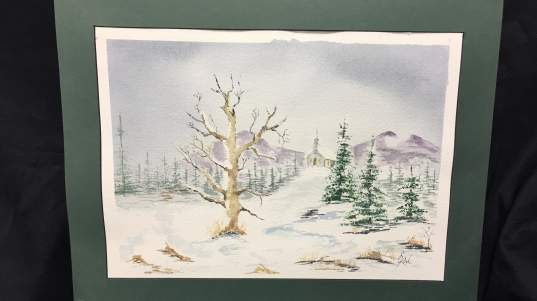 """Lyn Kirk, """"Church on a Snowy Hill,"""" painting, professional."""
