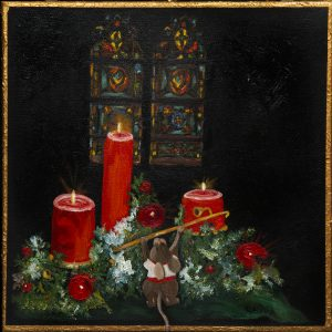 Church Mouse - Mouse lighting candles surrounded by evergreen and red Christmas ornaments. Arrangement is in front of stained glass window.