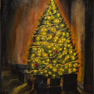 Golden Christmas Glow - Christmas tree with red ornaments and bright golden lights