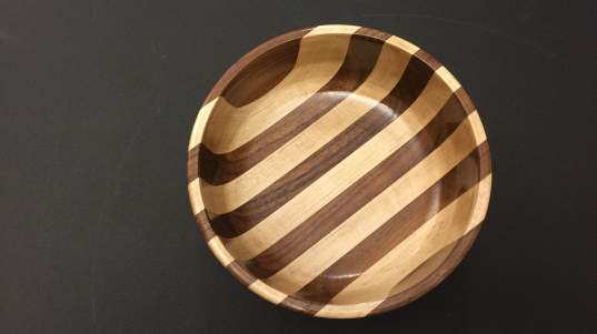 "Maurice Cummings, ""Laminated Walnut/Maple Bowl,"" was first place amateur in Sculpture/3-D."