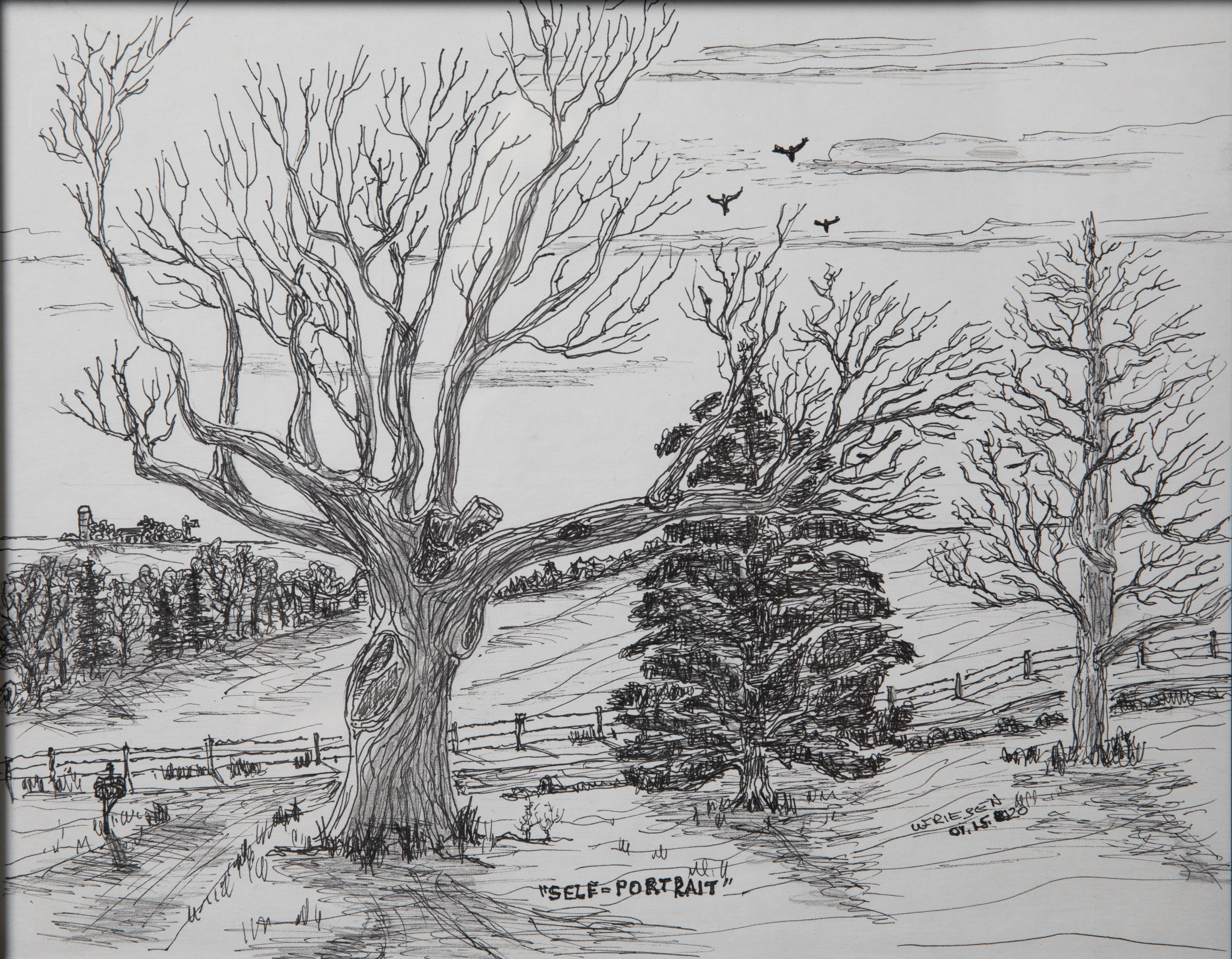 Pen and ink drawing of a winter scene with three trees and a farmstead in the distance.