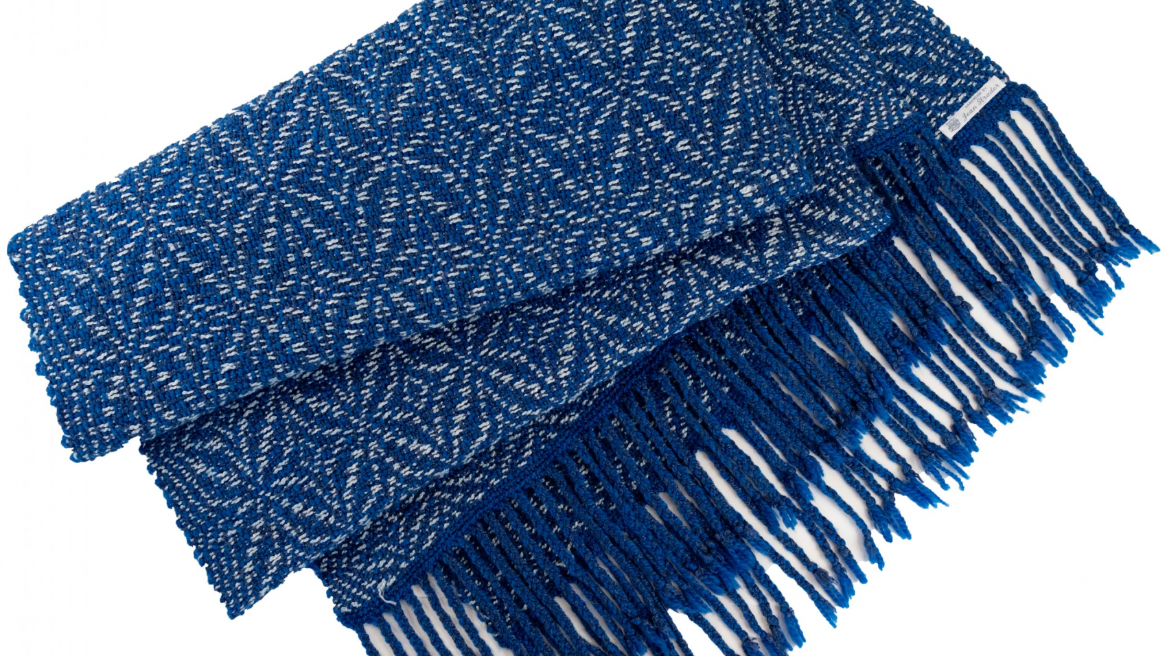 Blue and cream shawl with staf of Bethlehem