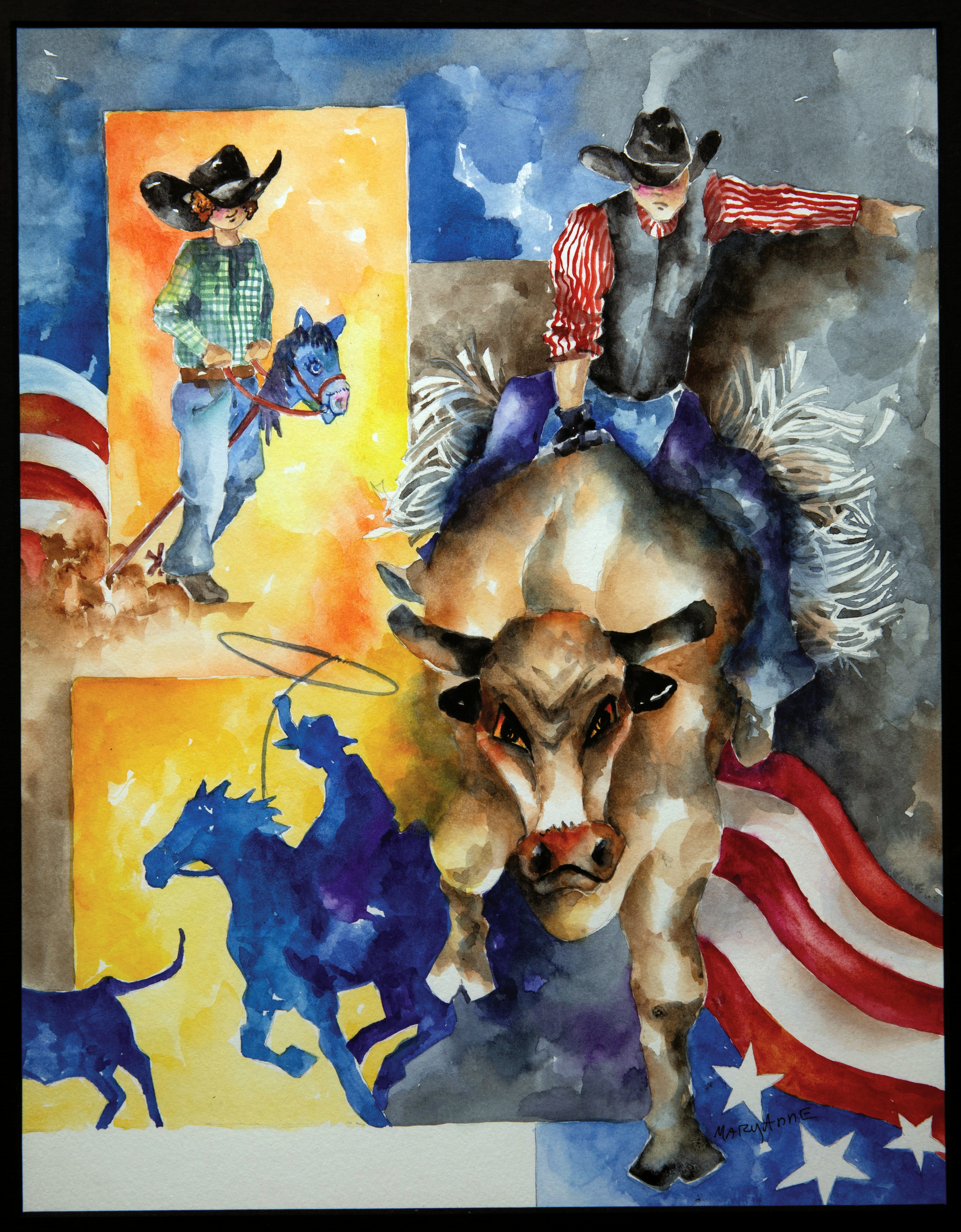Painting - Rodeo - colorful painting in patriotic colors of red, white and blue with some yellow/orange in background. Painting features bull rider on a large bull, young boy riding a stick horse and a silhouette in blue of a cowboy roping a steer.