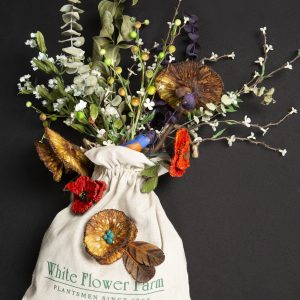 Mixed Media Crafts - Hedge Apple Bouquet - arrangement of flowers, berry stems and eucalyptus in flower sack adorned with hand painted hedge apple bouquets.