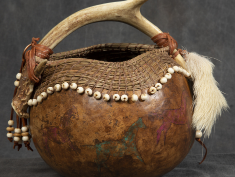 Mixed Media Crafts - Native American Wimsy - Gord made into basket with deer antler handle decorated with beading and painted horses.