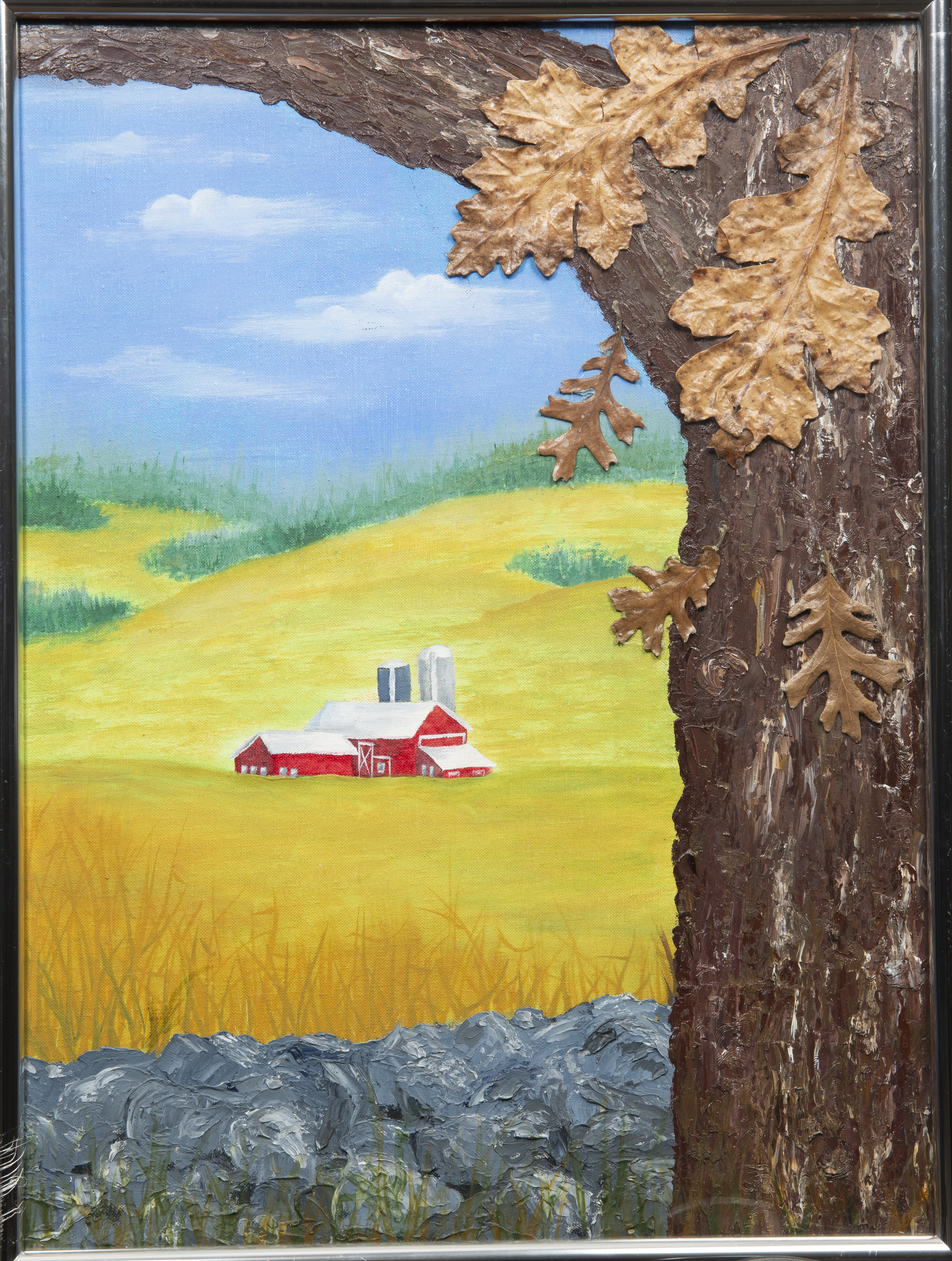 Mixed Media Crafts - The Barn - Image of red barn on the prairie with hills in the background and a large oak tree in the forefront featuring 3D oak leaves.