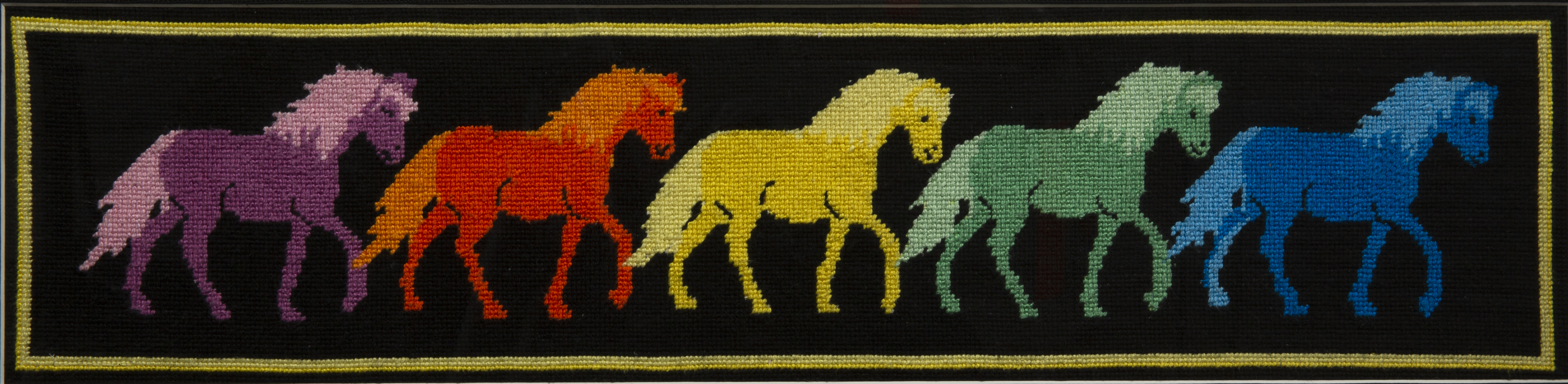 Needlework - Horses of a Different Color - needlework of 5 horses all of a different color; purple, orange, yellow, green and blue.