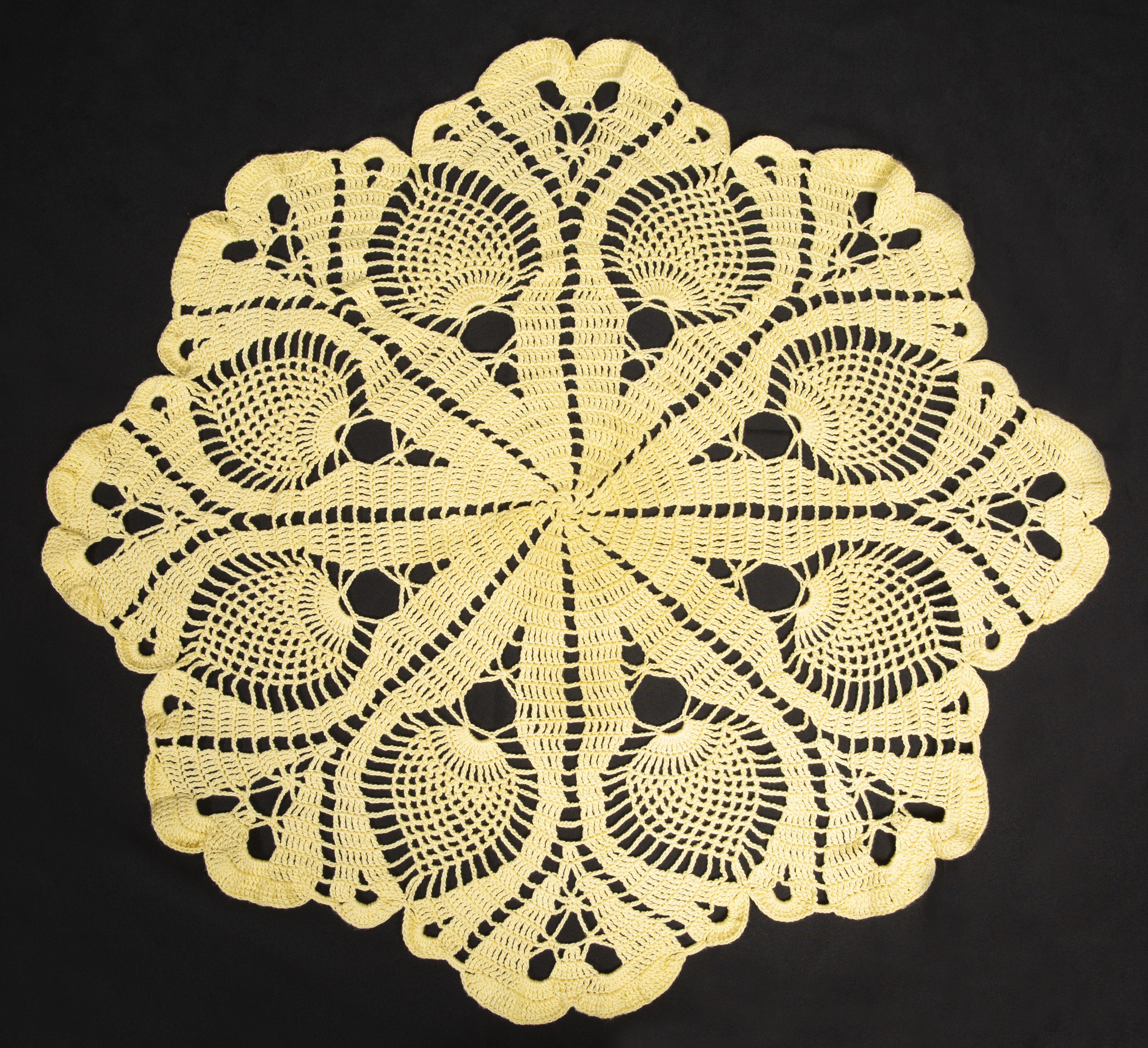 Needlework - Spring Time - image of crochet doily with pinapple motif