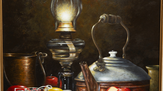 Painting - Lamp and Tea Kettle - painting of vintage oil lamp burning with bright light with an antique tea kettle sitting next to red and green apples on covered table