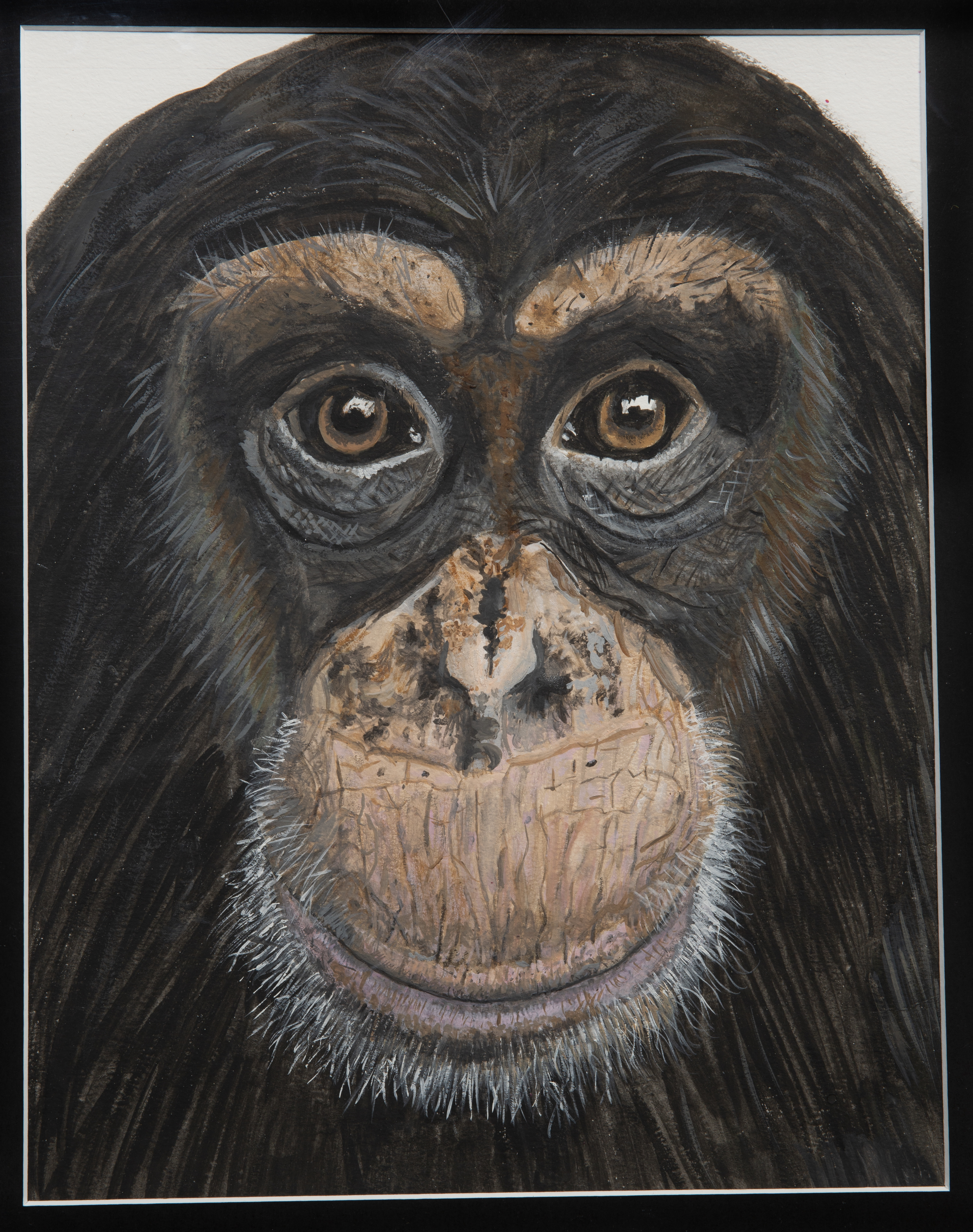Painting - Louie - painting of a chimpanzee face with a soft expression