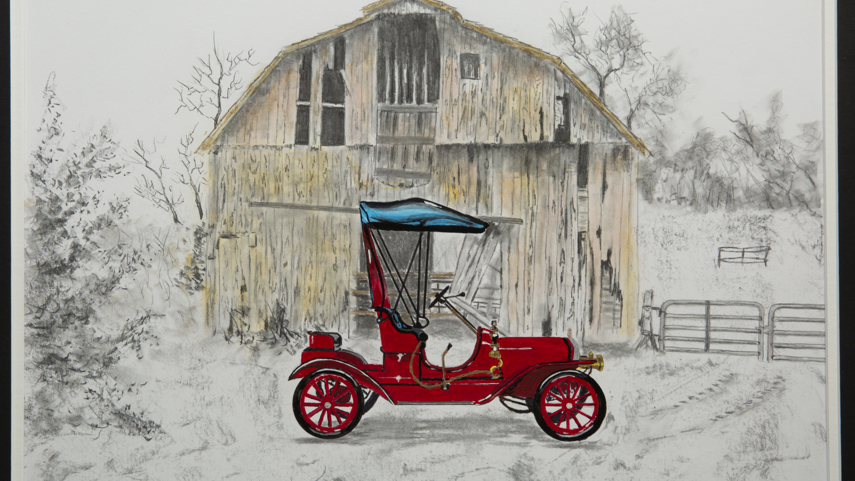 Painting - Oldtimers Car and Barn - painting of a red vintage car with blue fabric top parked in front of an old barn.