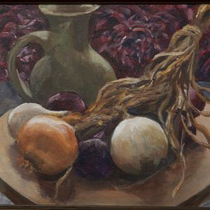 Painting - Onions II - painting of white, yellow and purple onions with stems lying on a terra cotta colored tray that is next to a green pitcher