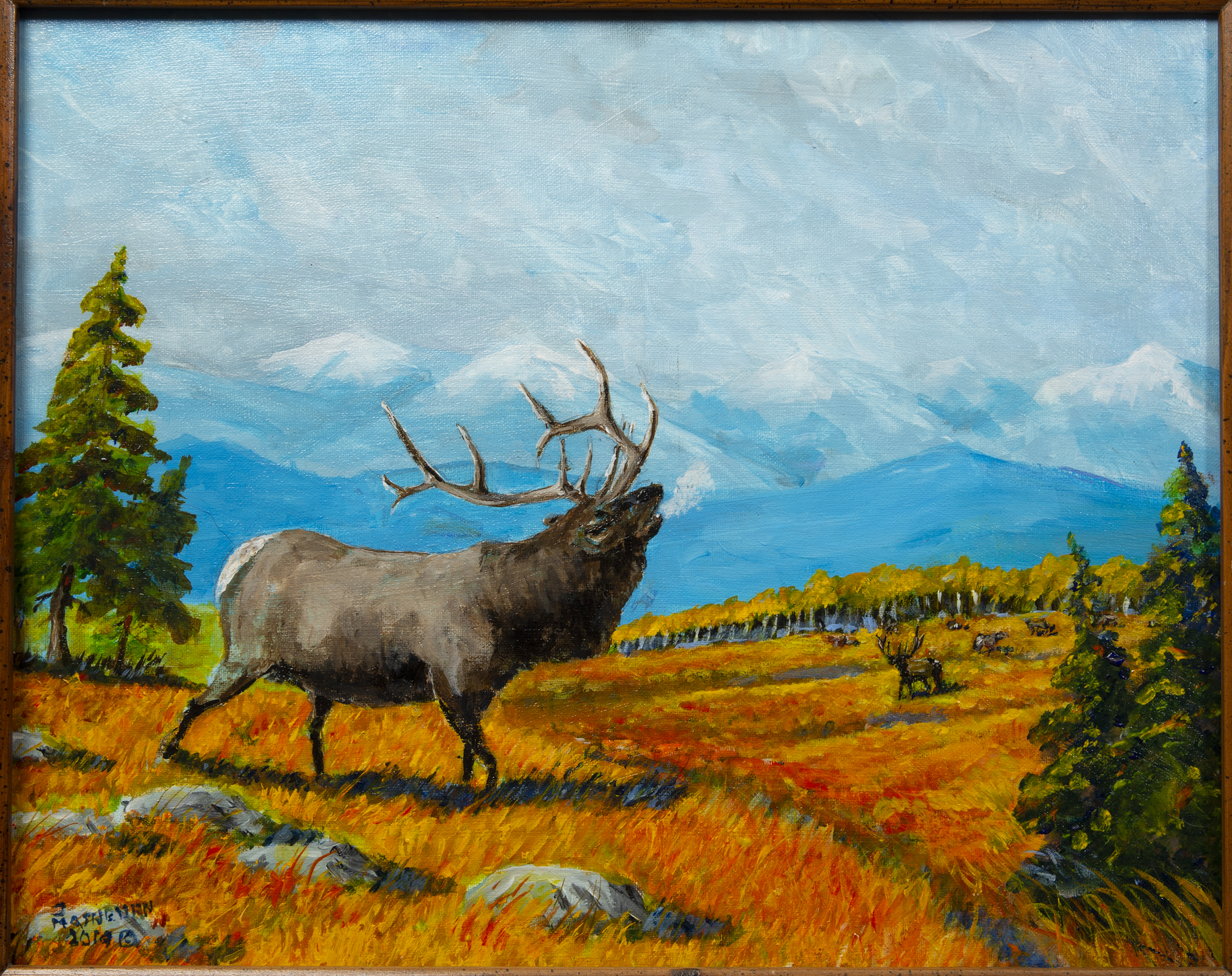 Painting - Rutting - painting of a large male Elk or Deer with a large rack on top his head and appears to be bugling while standing on beautiful orange, yellow and red grass with other Elk/Deer in the background.