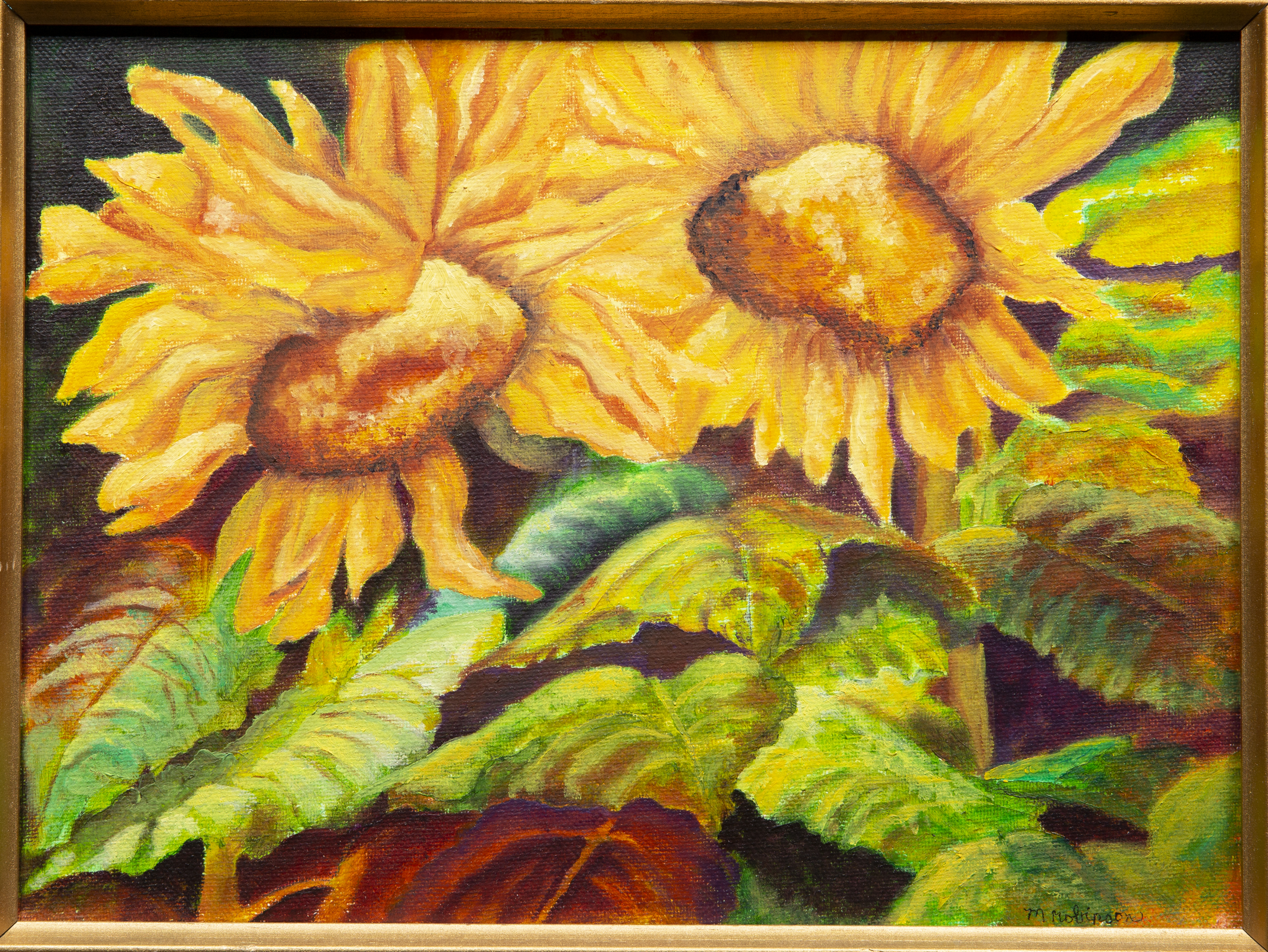 Painting - Two Sunflowers - painting of two vibrant yellow/orange sunflowers surrounded by a variety of green and brown foliage.