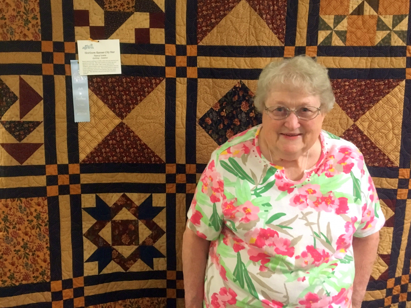 Nancy Lewis entered her king-size quilt in the Art is Ageless competition at Presbyterian Manor.