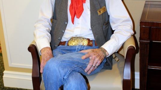 Martin Bergin is a cowboy poet and saddlemaker. He came to give a talk about life as a cowboy.