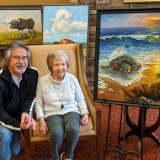 Artist Mark Ward reconnected with Jan Anderson at the Art is Ageless reception this spring. Two of Mark's paintings hang in Jan's apartment at Presbyterian Manor.